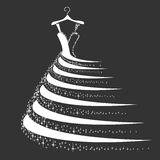 Wedding dress silhouette stock photos