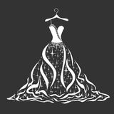 Wedding dress silhouette royalty free stock photography