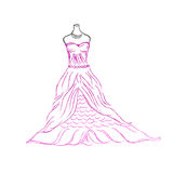 Wedding, dress, sketch, vector illustration on white background Royalty Free Stock Images