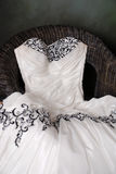 Wedding dress in Studio. Black embroidered wedding dress in studio Stock Photos