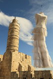 Wedding dress on the Tower of David Stock Photos