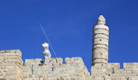 Wedding dress on the Tower of David Royalty Free Stock Photography