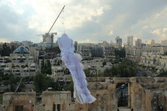 Wedding dress on the Tower of David Royalty Free Stock Images