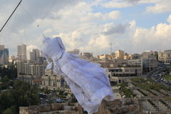 Wedding dress on the Tower of David Stock Image
