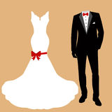 Wedding dress and tuxedo. Wedding card with the clothes of the bride and groom. Beautiful wedding dress and tuxedo. Vector illustration Stock Image