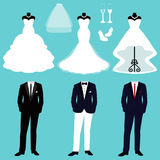 Wedding dress and tuxedo. Wedding card with the clothes of the bride and groom. A set of wedding clothes. Beautiful wedding dress and tuxedo. Vector Royalty Free Stock Photo