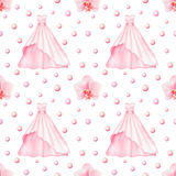 Wedding Dress watercolor seamless pattern Royalty Free Stock Photos