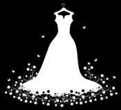 Wedding dress white on hangers Stock Photos