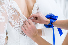 Wedding dress in the white room. 3 Royalty Free Stock Photos