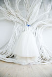 Wedding dress in the white room. 3 Stock Photos