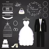 Wedding dresse and groom suit with different. Accsessories and attributes. Vector illustration. Modern style Stock Photo