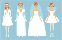 Wedding dresses. Four brides wearing  fashionable wedding dresses Stock Photography
