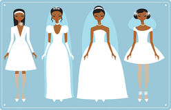 Wedding dresses. Four brides wearing  fashionable wedding dresses Stock Photography