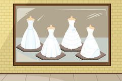 Wedding dresses. A  illustration of wedding dresses in store display Stock Photo