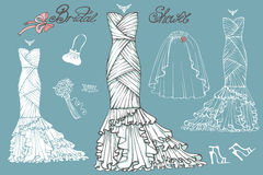 Wedding dresses and accessories set.Vintage bridal Stock Images