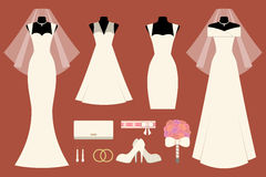 Wedding dresses and accessories Stock Image