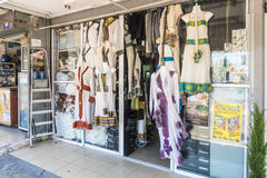 Wedding dresses on display in shop in Tel Aviv. Royalty Free Stock Photography
