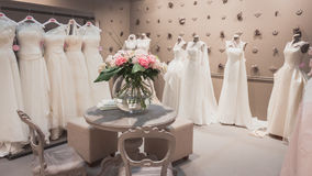 Wedding dresses on display at Si' Sposaitalia in Milan, Italy