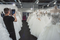 Wedding dresses on display at Si' Sposaitalia in Milan, Italy Stock Image