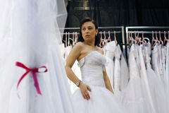Wedding dresses exhibition Stock Images
