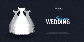 Wedding Dresses. Flat Wedding agency banner with hand draw doodle on a background. Vector illustration. stock illustration