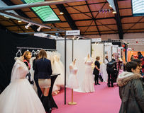 Wedding dresses and French fashion at Wedding fair Royalty Free Stock Image