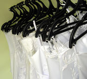 Wedding dresses on hangers. Choice of a wedding dress Stock Image