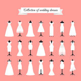 Wedding dresses icon set Stock Photo