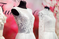 Wedding dresses on a mannequins Stock Photography