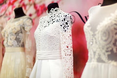 Wedding dresses on a mannequins Royalty Free Stock Photos