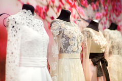 Wedding dresses on a mannequins Royalty Free Stock Photo