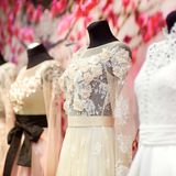 Wedding dresses on a mannequins Stock Image