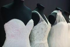 Wedding dresses on mannequins Stock Photography