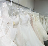 Wedding Dresses on racks Royalty Free Stock Images