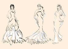 Wedding Dresses. Sketches of beautiful fashionable wedding dresses Stock Photos