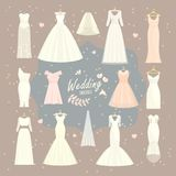 Wedding dresses vector set bride and bridesmaid white wear dressing accessories bridal shower celebration and marriage. Wedding dresses vector set bride and Royalty Free Stock Photography