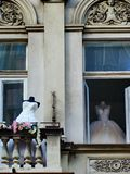 Wedding dresses waiting for the brides stock image
