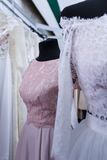 Wedding dresses wedding shop. On mannequins royalty free stock photography