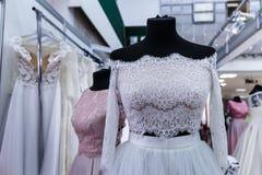 Wedding dresses wedding shop. On mannequins royalty free stock photo