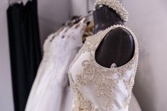 Wedding dresses wedding shop. On mannequins stock photo