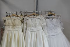 Wedding dresses wedding shop. On mannequins stock photos