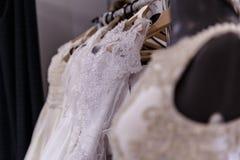Wedding dresses wedding shop. On mannequins royalty free stock image