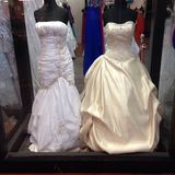 Wedding dresses in a window Royalty Free Stock Photography