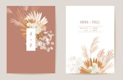 Free Wedding Dried Lunaria, Orchid, Pampas Grass Floral Vector Card. Exotic Dried Flowers, Palm Leaves Boho Invitation Royalty Free Stock Photography - 202151457