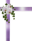 Wedding or Easter Border orchids and ivy. Image and illustration composition of Christian cross, lavender ribbons, white orchids, ivy,  design element for Royalty Free Stock Photo