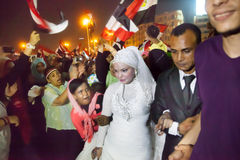 Wedding in Egyptian revolution Royalty Free Stock Photography