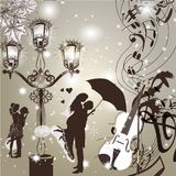 Wedding elegant  background with cute couple street light and vi Stock Photos