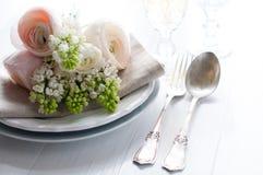 Wedding elegant dining table setting Royalty Free Stock Photo