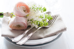 Wedding elegant dining table setting Stock Photography