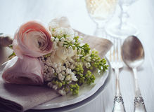 Wedding elegant dining table setting Royalty Free Stock Image